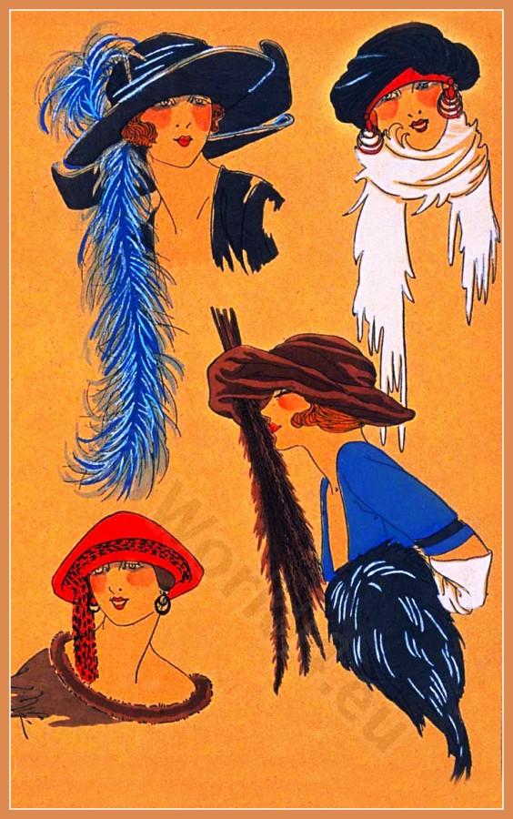 Costume Design. Fashion plate. Art deco hat fashion