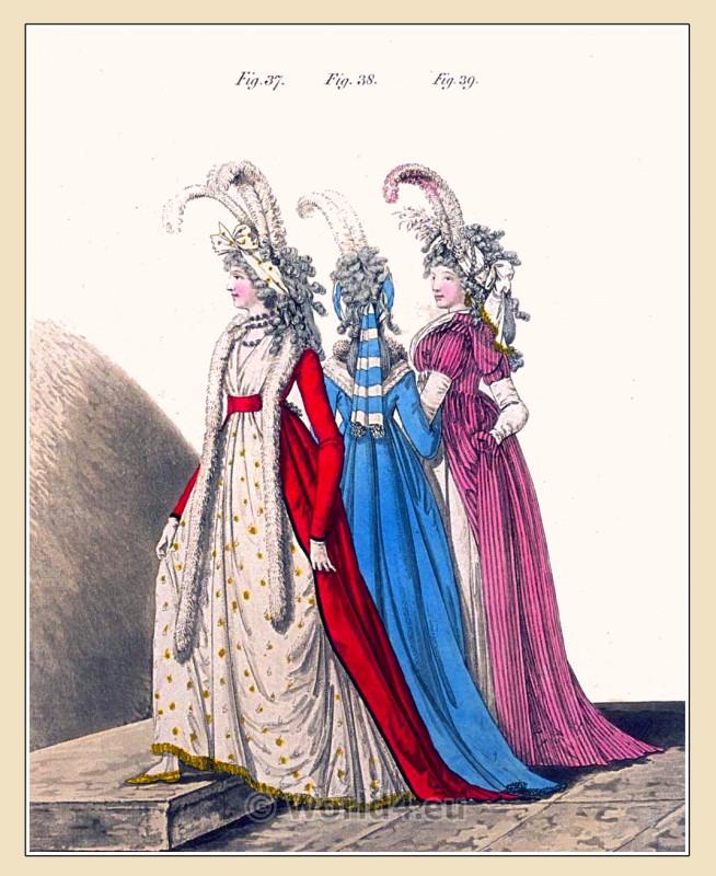 Robe A La Polonaise: Regency Robe à La Polonaise Of Cherry-colored Satin