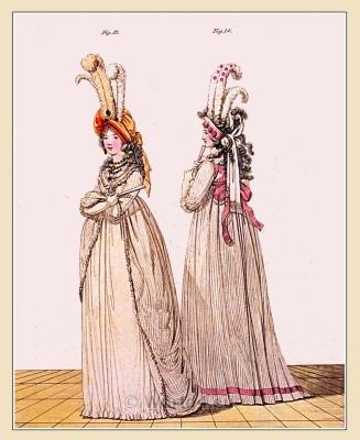 Tiffany gauze. Gallery of Fashion. Georgian fashion. Neoclassical costumes. Neoclassical costumes.