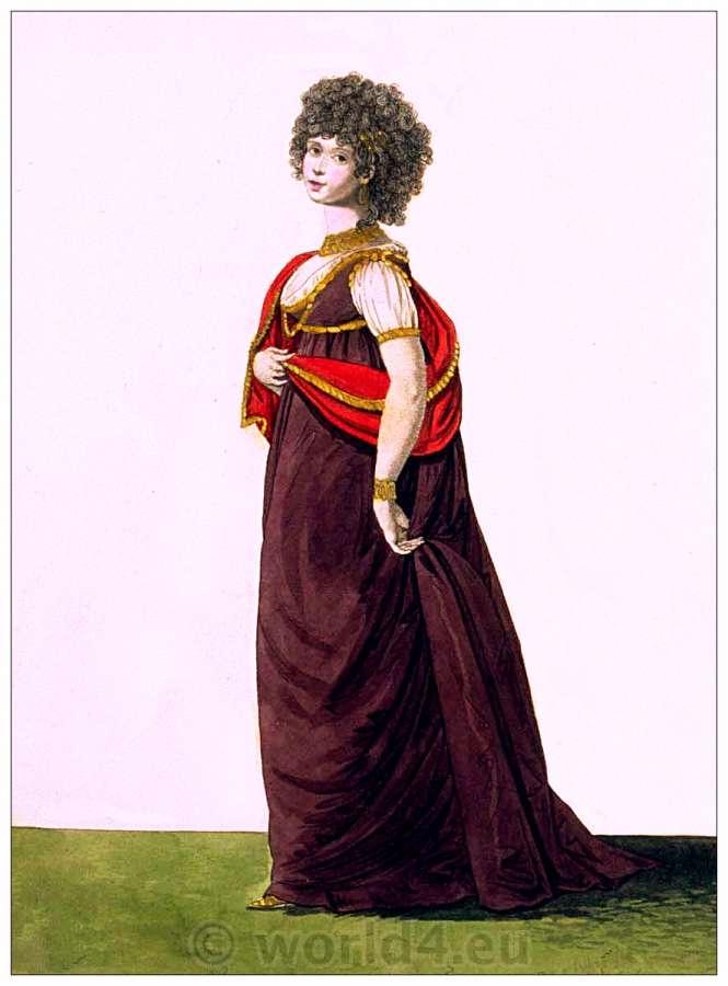 Regency Roman style dress. Petticoat of puce-colored satin ...