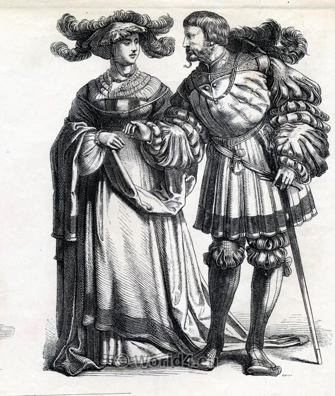 Renaissance Fashion. Women`s Costume of German Nobility, 1450, 15th