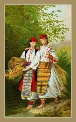 Traditional Serbian National Costumes. Women Folk dresses from Okolica Dalmatia Croatia. DJEVOJKE IZ VRLIĆKE OKOLICE Dalmaciji