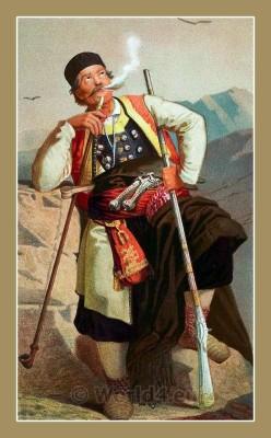 Traditional Serbian National Costumes. Montenegrin Man Folk dresses from Montenegro. CRNOGORAC