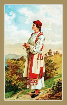 Traditional Serbian National Costumes. Woman Folk dress from Vrlika Croatia. DJEVOJKA IZ VRLIKE
