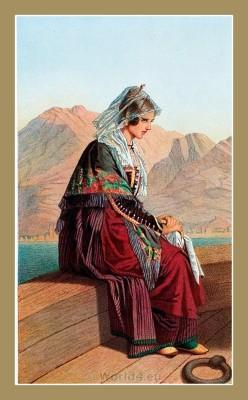 Kotor, Cattaro. Montenegro national costumes. Balkans folk dresses.