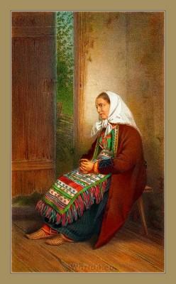 Croatian national costumes. Karlobag. Balkans folk dresses. Hrvatskih narodnih nošnji