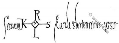 Signature, Charlemagne, Carolingian era, Middle ages, manuscript, autograph