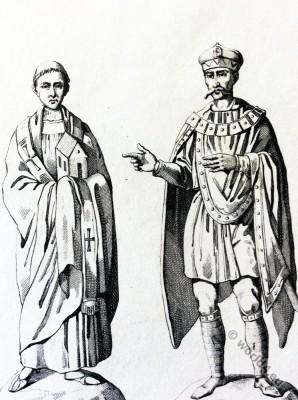 Pope Leo I. Charlemagne. Carolingian. Byzantine costumes