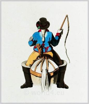 Postillion. French national costumes. France folk dress.
