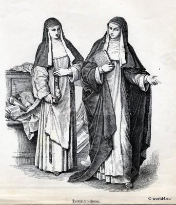 Dominican, Ordo fratrum Praedicatorum, nuns, costumes, Ecclesiastical, Dress, Monastic, clothing
