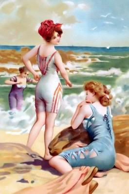 French Vintage beach fashion. Pin-up boho style fashion. Pin-up Girl swimwear.