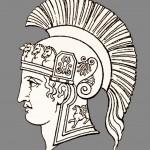 Ancient Roman warrior helmet and armor