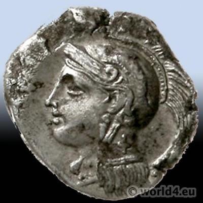 Antique Greek coin. Didrachme 350/281 BC. Head of Athena Pallas.