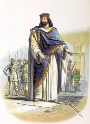Clovis, Chlodowech, Chlodwig, Chlodovech, Merovingian, Medieval clothing, Salian Franks, French King.