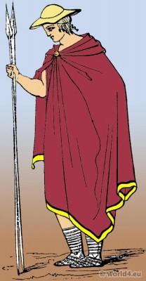 Petasus Ancient Greek headdress. Traveling Greek costume Chlamys