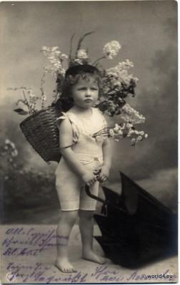 Vintage German girls spring dress. Children dresses. Retro kids costumes.