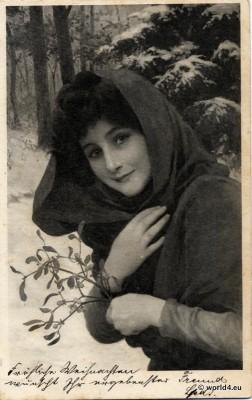 Popular symbolism. Art nouveau c. 1900. Girl in hooded coat