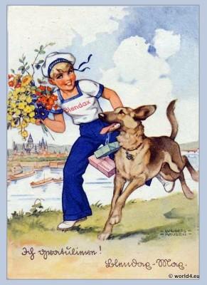 Girl in sailor costume with German Shepherd dog. Vintage boho fashion 1910
