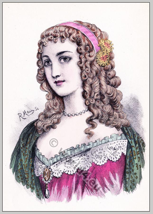... . French Historical hairdos. France women`s fashion. Mode des Barock
