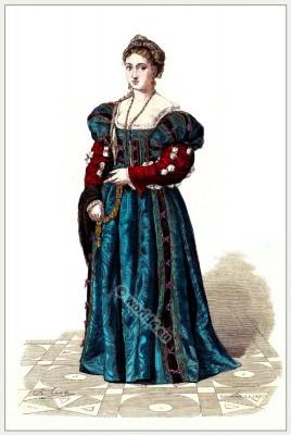 Italian noblewoman costumes. Renaissance fashion history.16th century clothing. Moda Rinascimento italiano nel 16 ° secolo.