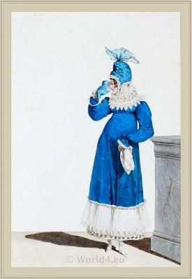Merveilleuses costume Domino Garni de Dentelle. France directoire, regency era fashion. Horace Vernet.