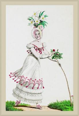 Merveilleuses Costume Par-Dessous à la Chinoise. France directoire, regency era fashion. Horace Vernet.