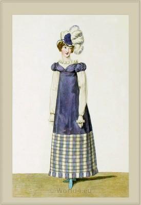 Robe à la Vierge en étoffe écossaise. Merveilleuses. France directoire, regency era fashion. Horace Vernet.