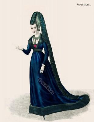 Agnes Sorel. Mistress. Nobility gothic fashion. Middle Ages court dress.