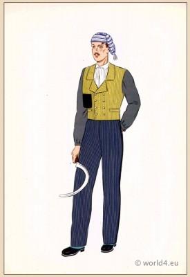 National France traditional dresses. Mens folk costume Franche-Comté