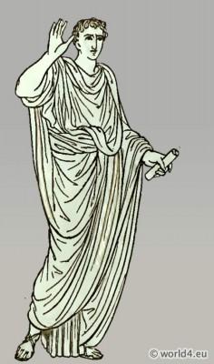 Ancient Roman tunica. Roman Orator in sleeveless tunic. Costume history.