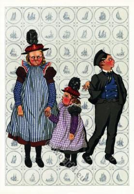 Netherlands traditional costumes. Children folk dresses.