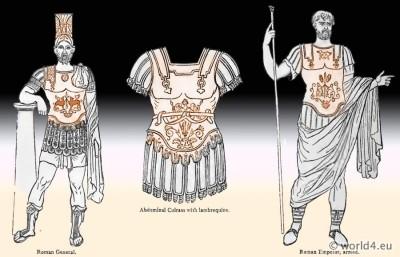 Ancient Roman military. General armor. Abdominal Cuirass. lambrequins. Emperor armed. Roman helmet.