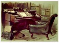 Victorian carved oak furniture. Sir Walter Scott Working Room