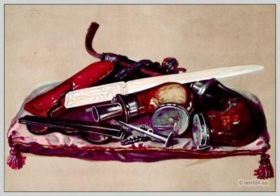Meerschaum Pipes, Spectacles, Case, Paper-Cutter. England 19th Century. Empire era accessoires. tortoise-shell