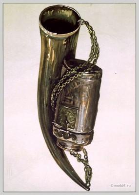 Border war horn and James VI.'s hunting-bottle. Scottish Military armor Hermitage Castle.
