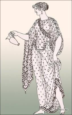 The Greek Ampechonion. Sleeveless chiton. Ancient Greece fashion