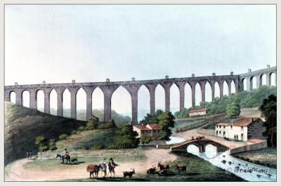 Architecture, Aqueduto, Águas, Livres, Alcântara, Lisbon, Portugal, Topography, Steel, engraving,Peninsula, War