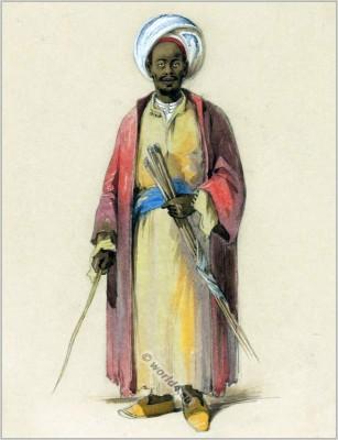 Traditional Arabian costume. Bedouin dress. Arab Sheik clothing. Amedeo Preziosi