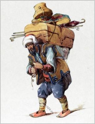 Traditional Armenian Hamal clothing Ottoman empire dress. Amedeo Preziosi drawing