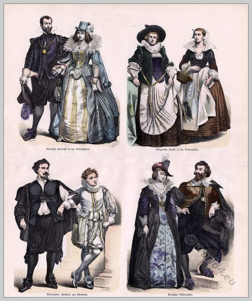 Netherlands baroque costumes. 17th century. & Netherlands baroque costumes. 17th century.   Costume History