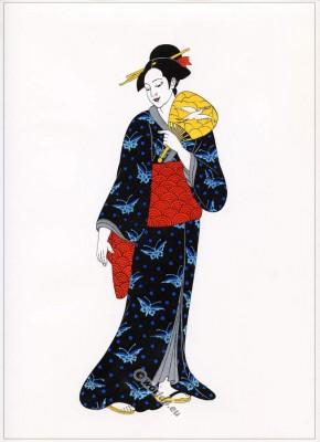 Traditional Japan national costume. Antique kimono XIX century. Court dress.