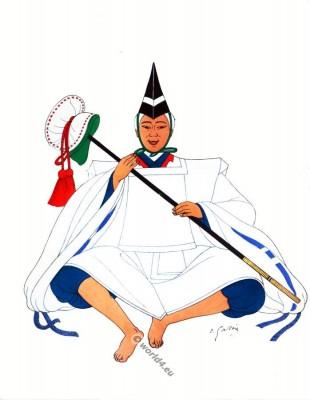 Traditional Japan national costumes. Antique kimono. Court dress.