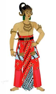 Asia Dance costumes. Java Ardjuna national costume. Headdress and Hairstyle.
