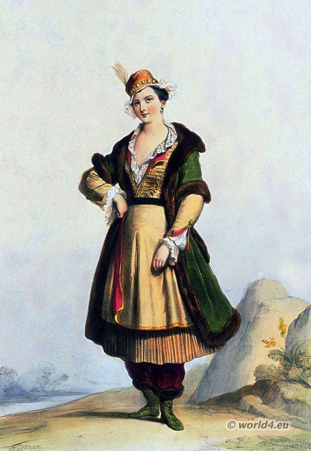 Poland national costume. Polish lady. 17th century. Baroque period ...