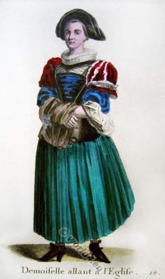 Switzerland Baroque fashion costume recherche. 17th century clothing Swiss bridesmaid. Traditional Switzerland national costumes.