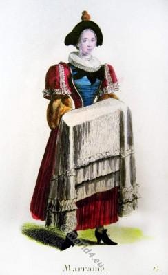 Switzerland Baroque fashion costume recherche. 17th century clothing Swiss godmother .