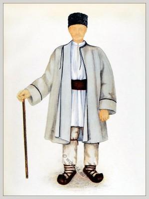 Bătrân din Lunca Cernii de Jos - Hunedoara, Transilvania. Alte Tracht aus Birkendorf in Siebenbürgen.