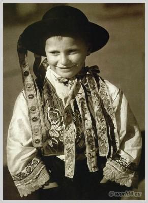 Young  boy in Slovakian national costume from Veľké Dvorníky. Beautiful embroidery design