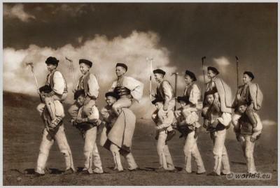 Slovakian traditional shepherd costume. Slovakia national costumes.