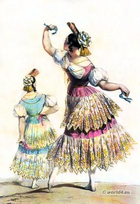 Spanish lady with castanets. Spanish bolero dance costume. Spain national costumes